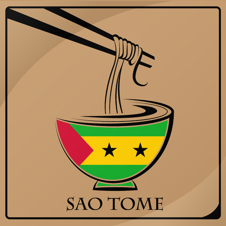 noodle logo made from the flag of Sao Tome Illustration
