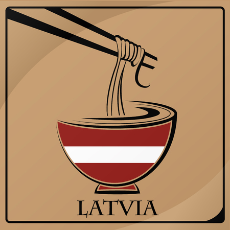 noodle logo made from the flag of Latvia Illustration