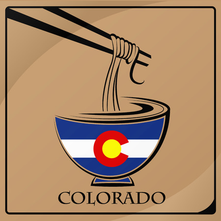 noodle logo made from the flag of Colorado