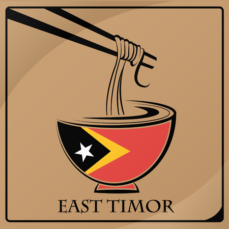 timor: noodle logo made from the flag of East Timor