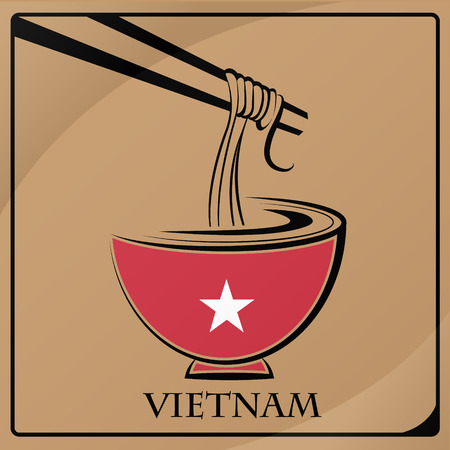 noodle logo made from the flag of Vietnam