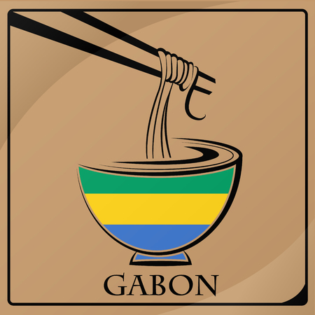 noodle logo made from the flag of Gabon
