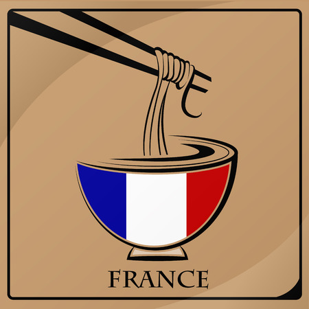 noodle logo made from the flag of France Illustration