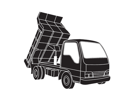 Dump truck icon on white background