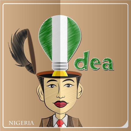 Idea bulb,made from the flag of Nigeria in  human head ,vector illustration Illustration