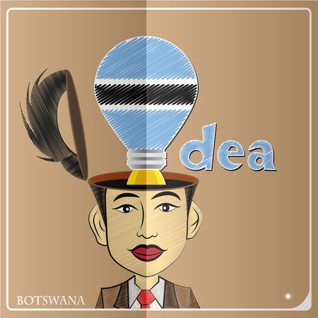 Idea bulb,made from the flag of Barbadian in  human head ,vector illustration
