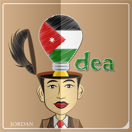 Idea bulb,made from the flag of Jordan in  human head ,vector illustration