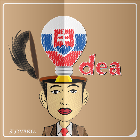 Idea bulb,made from the flag of Slovakia in  human head ,vector illustration