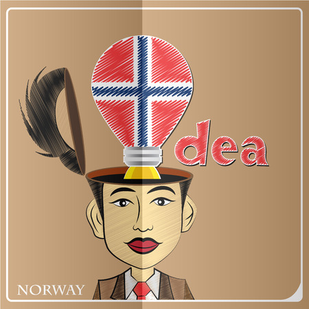 norway flag: Idea bulb,made from the flag of Norway in  human head ,vector illustration Illustration
