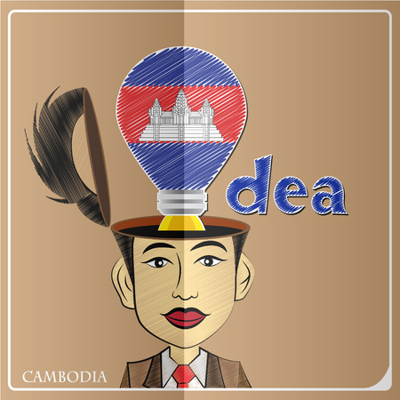 Idea bulb,made from the flag of Cambodia in  human head ,vector illustration