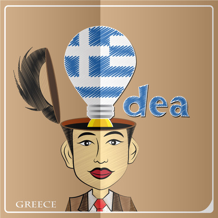 Idea bulb,made from the flag of Greece in  human head ,vector illustration