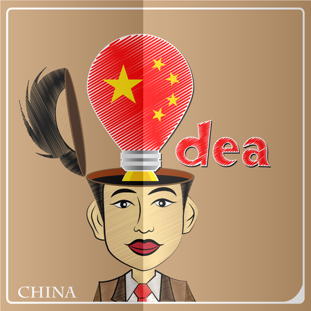 Idea bulb,made from the flag of China in  human head ,vector illustration