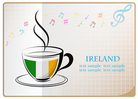 ireland flag: coffee logo made from the flag of Ireland