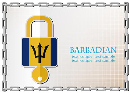 lock logo made from the flag of Barbadian