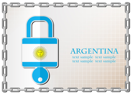 secret codes: lock logo made from the flag of argentina