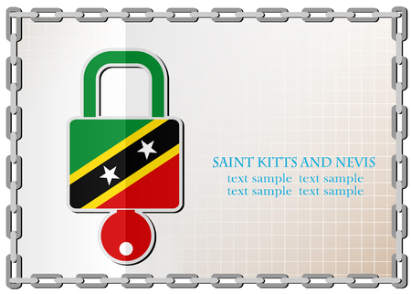 secret codes: lock logo made from the flag of Saint Kitts and Nevis Illustration