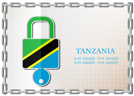 secret codes: lock logo made from the flag of Tanzania Illustration