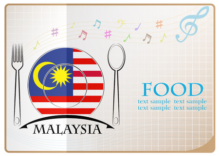 Food icon made from the flag of Malaysia Illustration