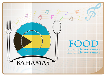 Food icon made from the flag of Bahamas