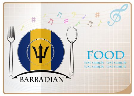 Food icon made from the flag of Barbadian