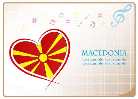 Herz-Logo aus der Flagge von Mazedonien gemacht