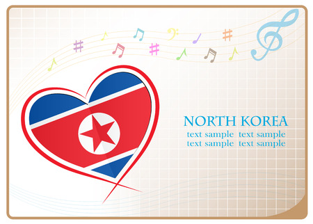 newest: heart logo made from the flag of North Korea Illustration