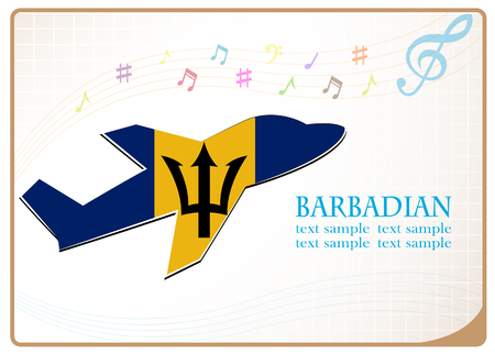 Plane icon made from the flag of Barbadian Illustration