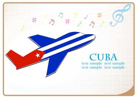 Icono de avión hecho desde la bandera de Cuba Foto de archivo - 83361863
