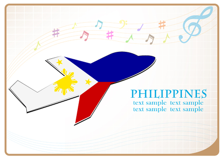 adventurer: A plane icon made from the flag of Philippines illustration. Illustration