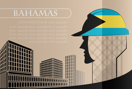 Building logo made from the flag of Bahamas ,construction working industry concept. Vector illustration