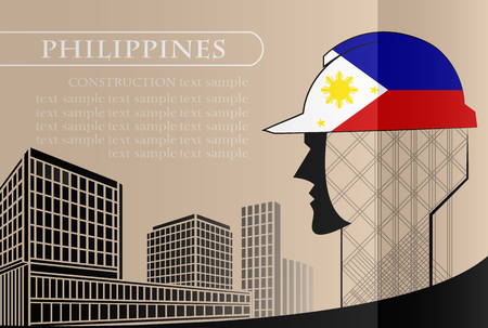 Building logo made from the flag of Philippines ,construction working industry concept. Vector illustration Illusztráció