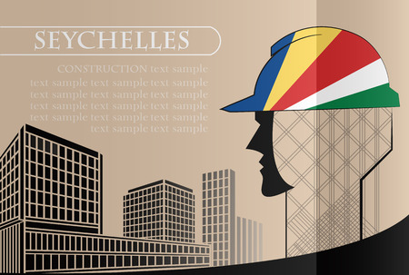 Building logo made from the flag of Seychelles ,construction working industry concept. Vector illustration Иллюстрация