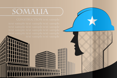 Building logo made from the flag of Somalia ,construction working industry concept. Vector illustration