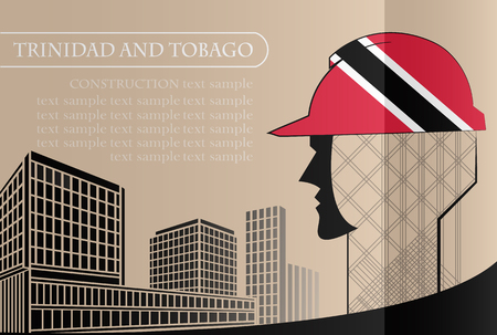 Building logo made from the flag of Trinidad and Tobago ,construction working industry concept. Vector illustration