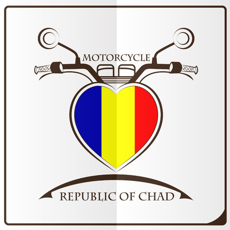 motorcycle logo made from the flag of Republic of Chad