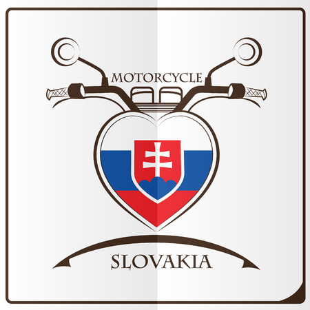 motorcycle logo made from the flag of Slovakia Illustration