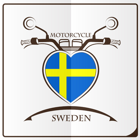 mirror: motorcycle logo made from the flag of Sweden Illustration