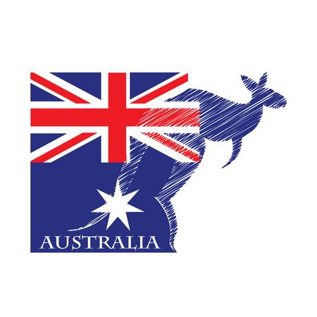 オーストラリアの旗から作られるカンガルーのロゴ