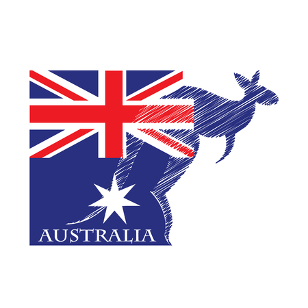 kangaroo logo made from the flag of Australian