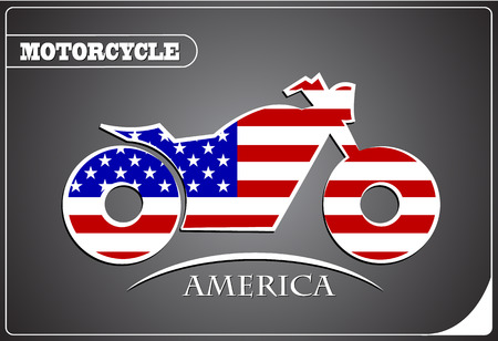 motorcycle logo made from the flag of America Illustration
