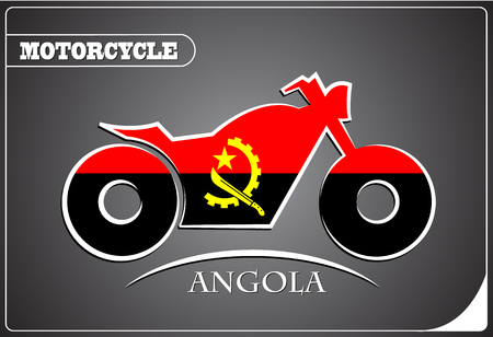 motorcycle logo made from the flag of Angola