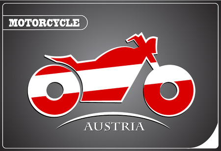 motorcycle logo made from the flag of Austria Illustration