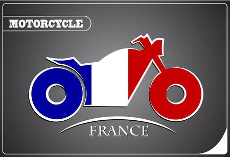 motorcycle logo made from the flag of France Illustration