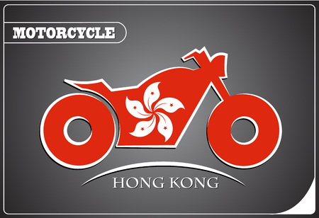 motorcycle logo made from the flag of Hong Kong Illustration