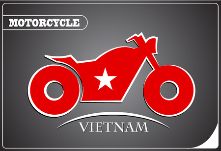 motorcycle logo made from the flag of Vietnam Illustration