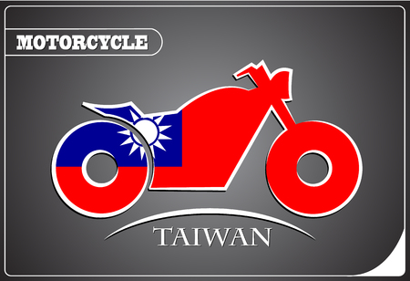 motorcycle logo made from the flag of Taiwan Illustration