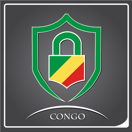 lock logo made from the flag of Congo