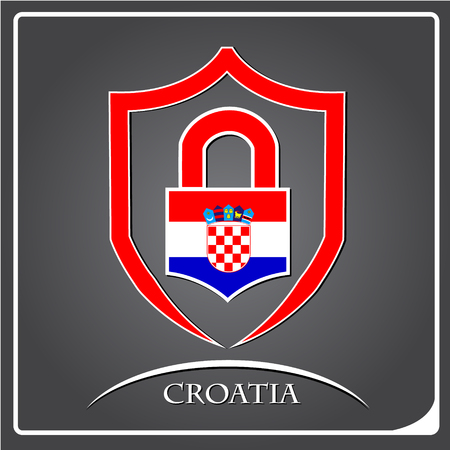 lock logo made from the flag of croatia