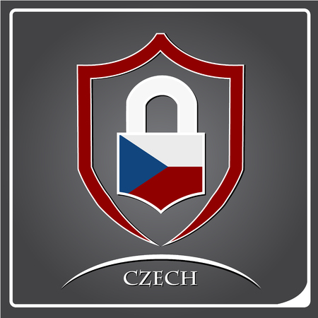 lock logo made from the flag of Czech