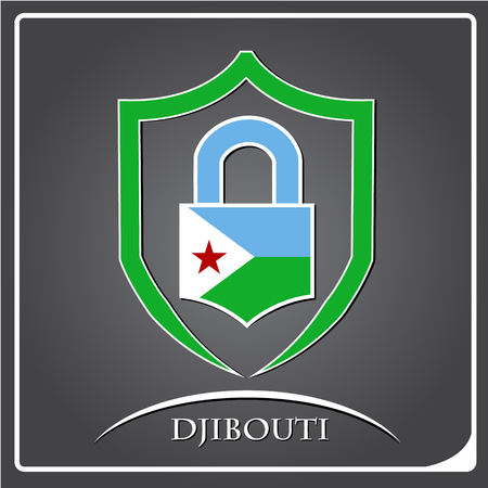 lock logo made from the flag of Djibouti